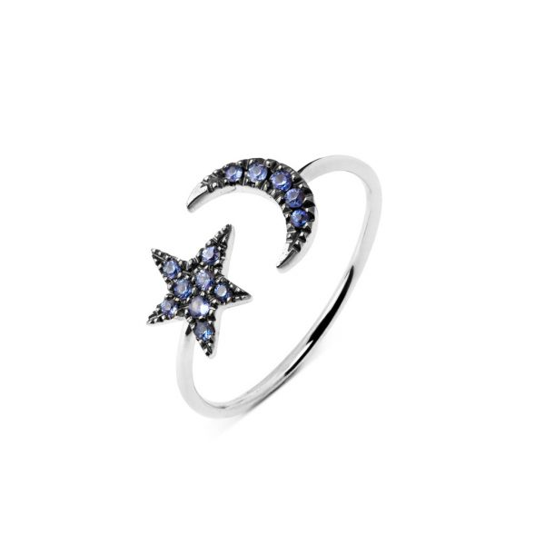 Anillo Moon & Star zafiros
