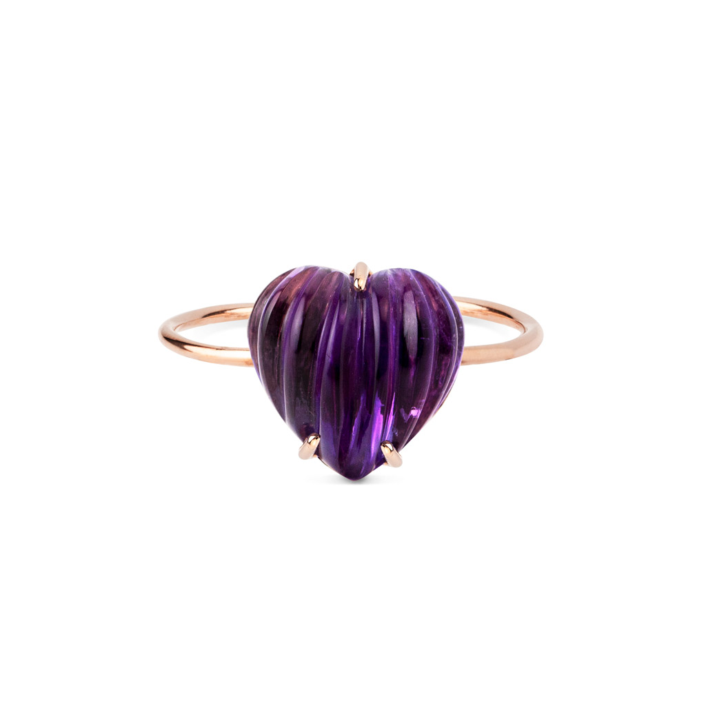 Anillo corazon amatista